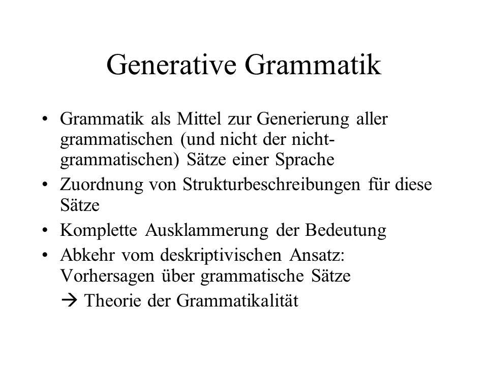 Generative Grammatik Grammatik als Mittel zur Generierung aller grammatischen (und nicht der nicht-grammatischen) Sätze einer Sprache.