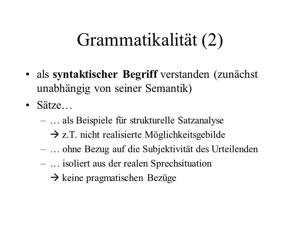 Grammatikalität (2) als syntaktischer Begriff verstanden (zunächst unabhängig von seiner Semantik) Sätze…