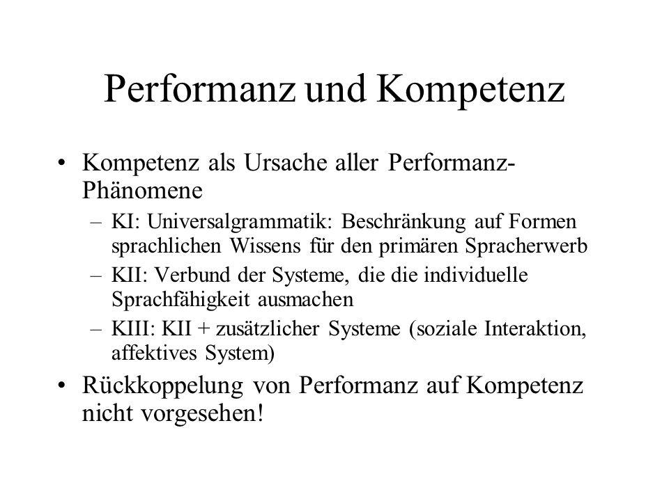 Performanz und Kompetenz