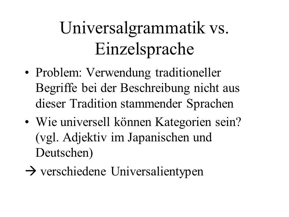 Universalgrammatik vs. Einzelsprache