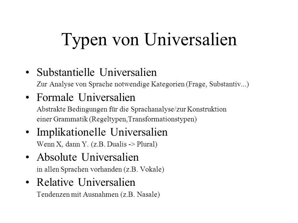 Typen von Universalien