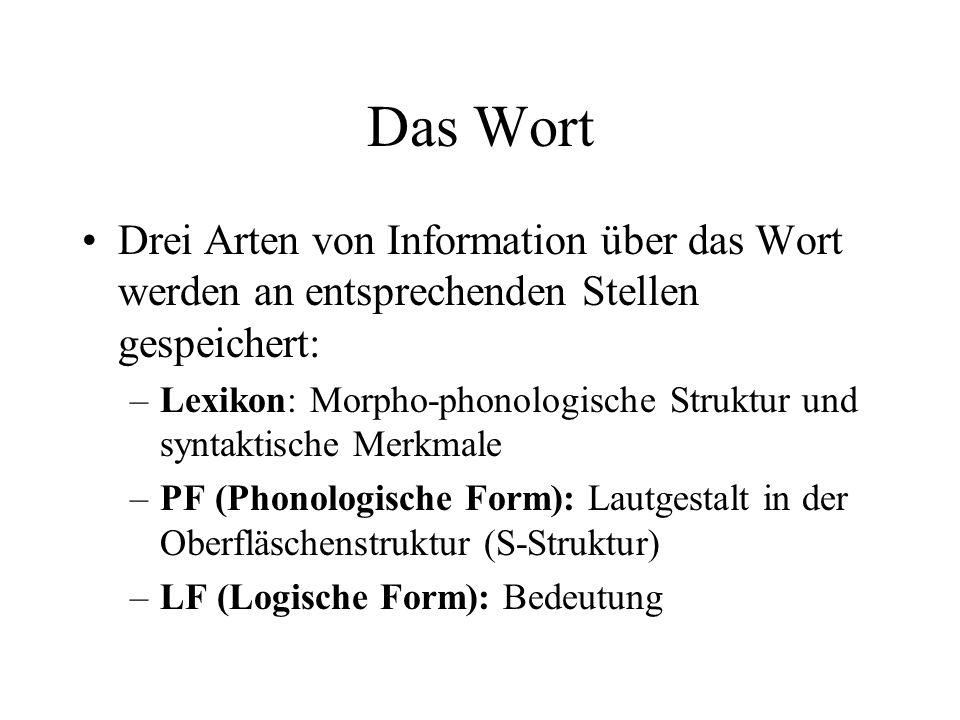 Das Wort Drei Arten von Information über das Wort werden an entsprechenden Stellen gespeichert: