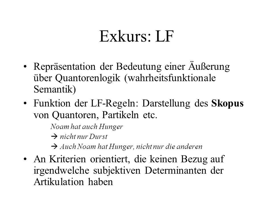 Exkurs: LF Repräsentation der Bedeutung einer Äußerung über Quantorenlogik (wahrheitsfunktionale Semantik)