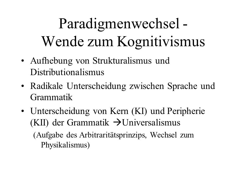 Paradigmenwechsel - Wende zum Kognitivismus