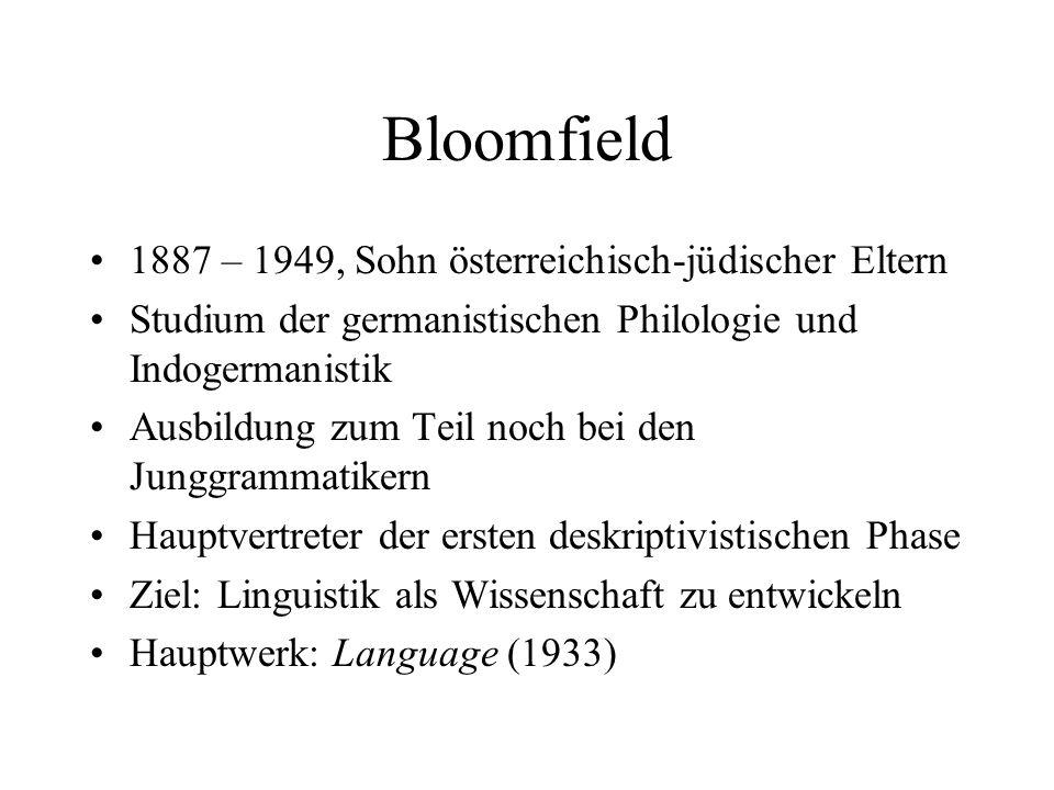 Bloomfield 1887 – 1949, Sohn österreichisch-jüdischer Eltern