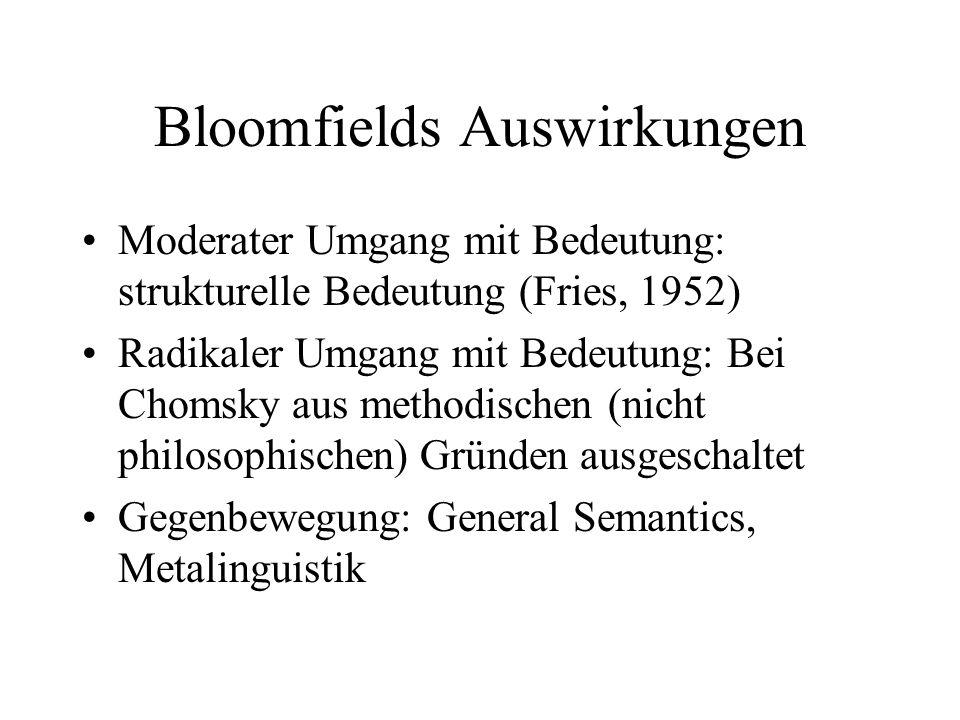Bloomfields Auswirkungen