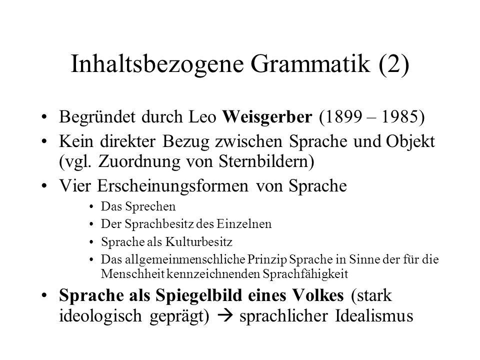 Inhaltsbezogene Grammatik (2)