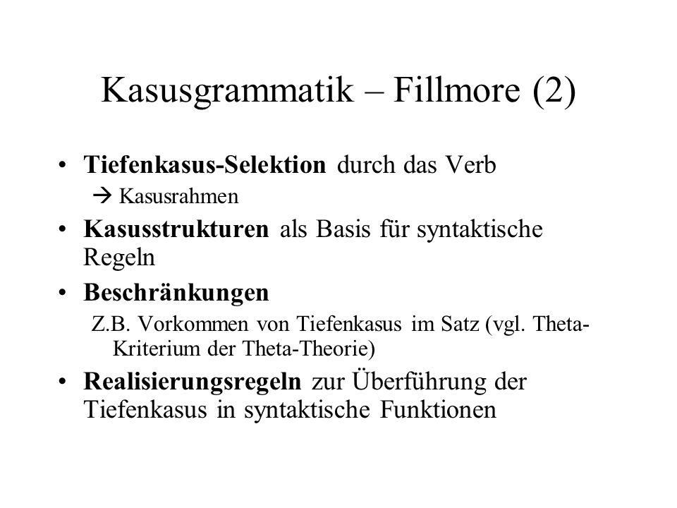 Kasusgrammatik – Fillmore (2)