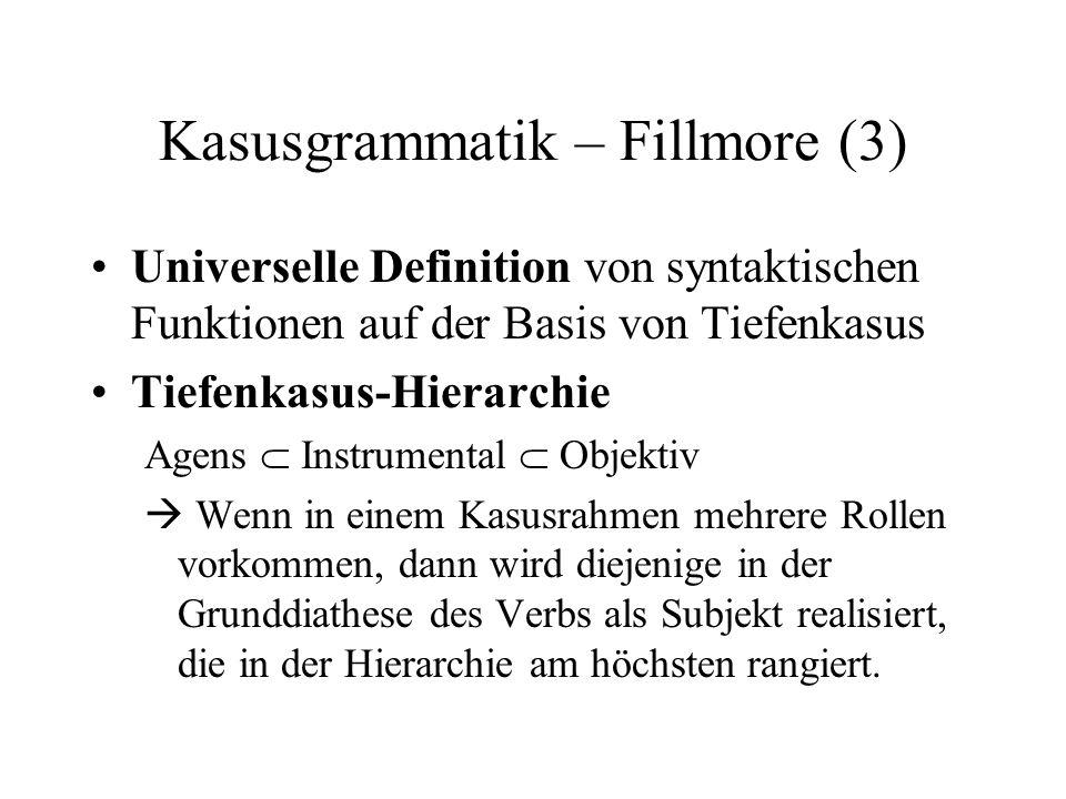 Kasusgrammatik – Fillmore (3)