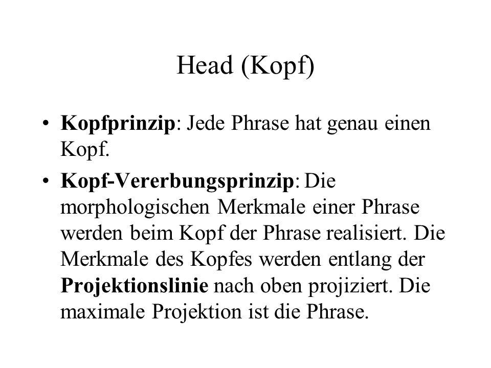 Head (Kopf) Kopfprinzip: Jede Phrase hat genau einen Kopf.