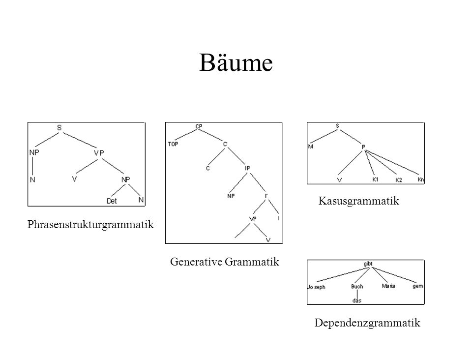 Bäume Kasusgrammatik Phrasenstrukturgrammatik Generative Grammatik