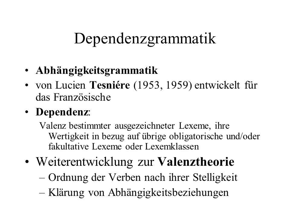 Dependenzgrammatik Weiterentwicklung zur Valenztheorie