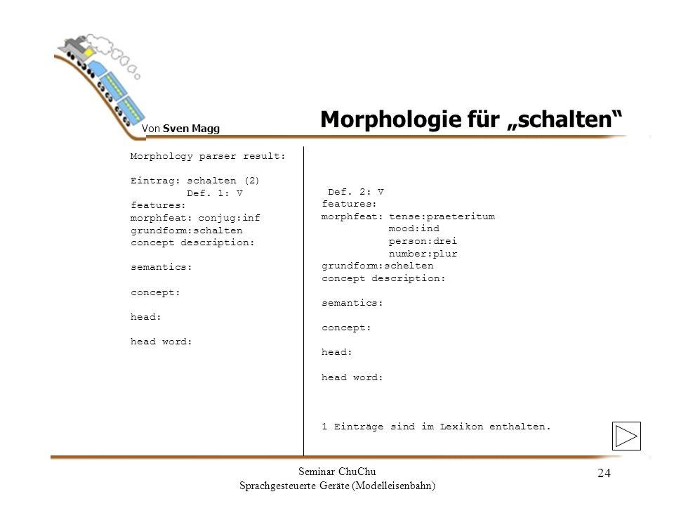 """Morphologie für """"schalten"""