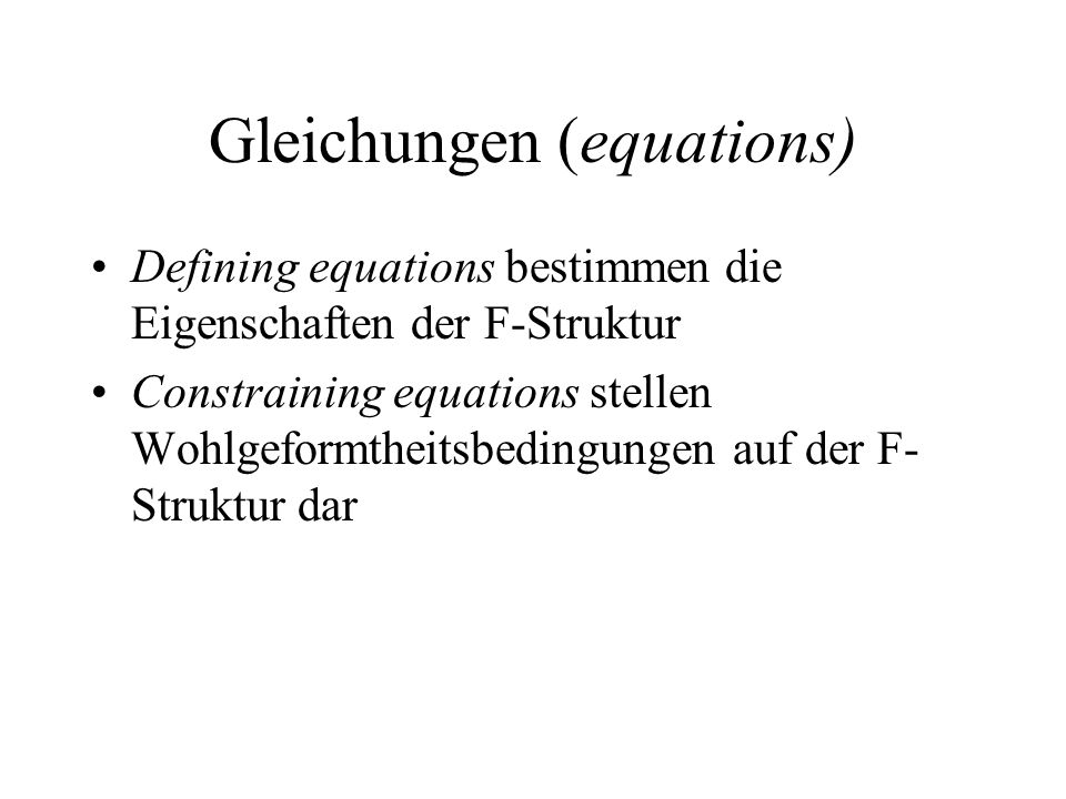 Gleichungen (equations)