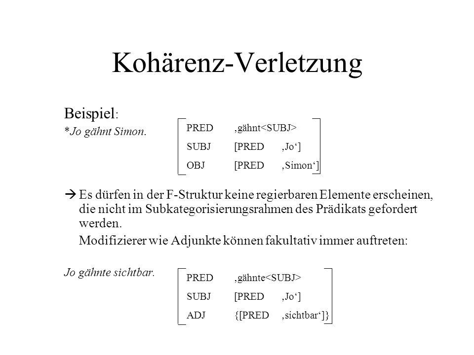 Kohärenz-Verletzung Beispiel: