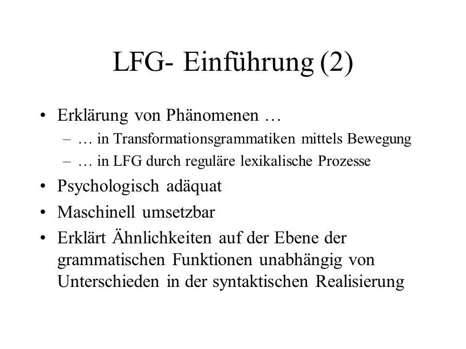 LFG- Einführung (2) Erklärung von Phänomenen … Psychologisch adäquat