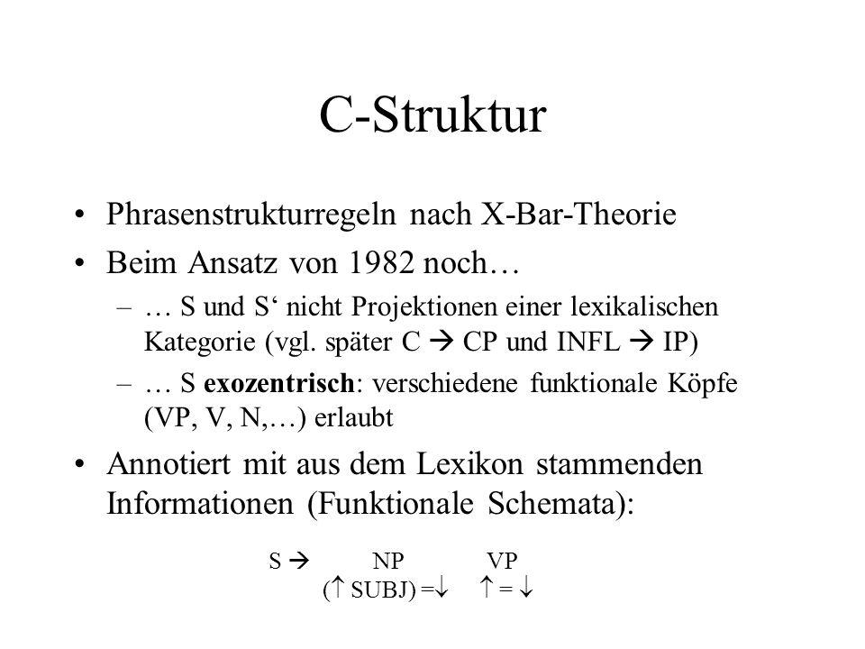 C-Struktur Phrasenstrukturregeln nach X-Bar-Theorie