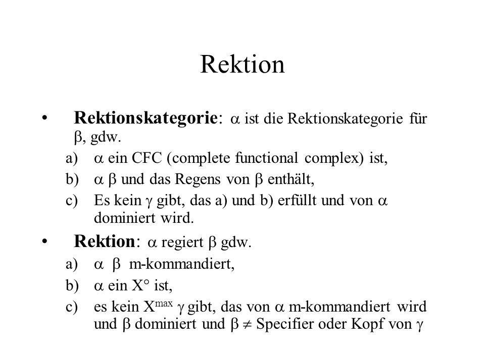 Rektion Rektionskategorie:  ist die Rektionskategorie für , gdw.
