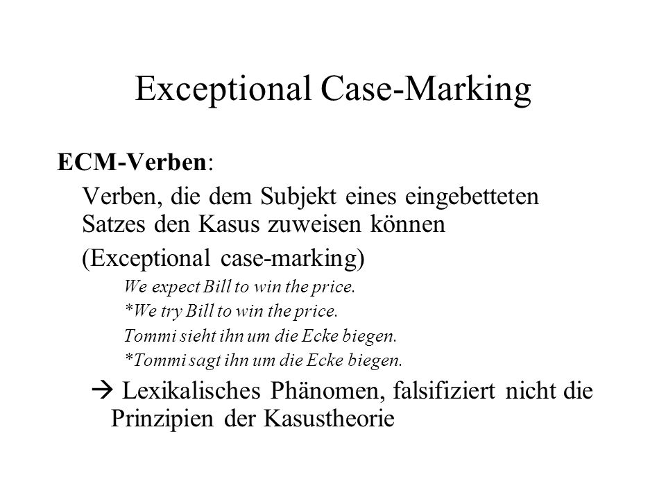 Exceptional Case-Marking