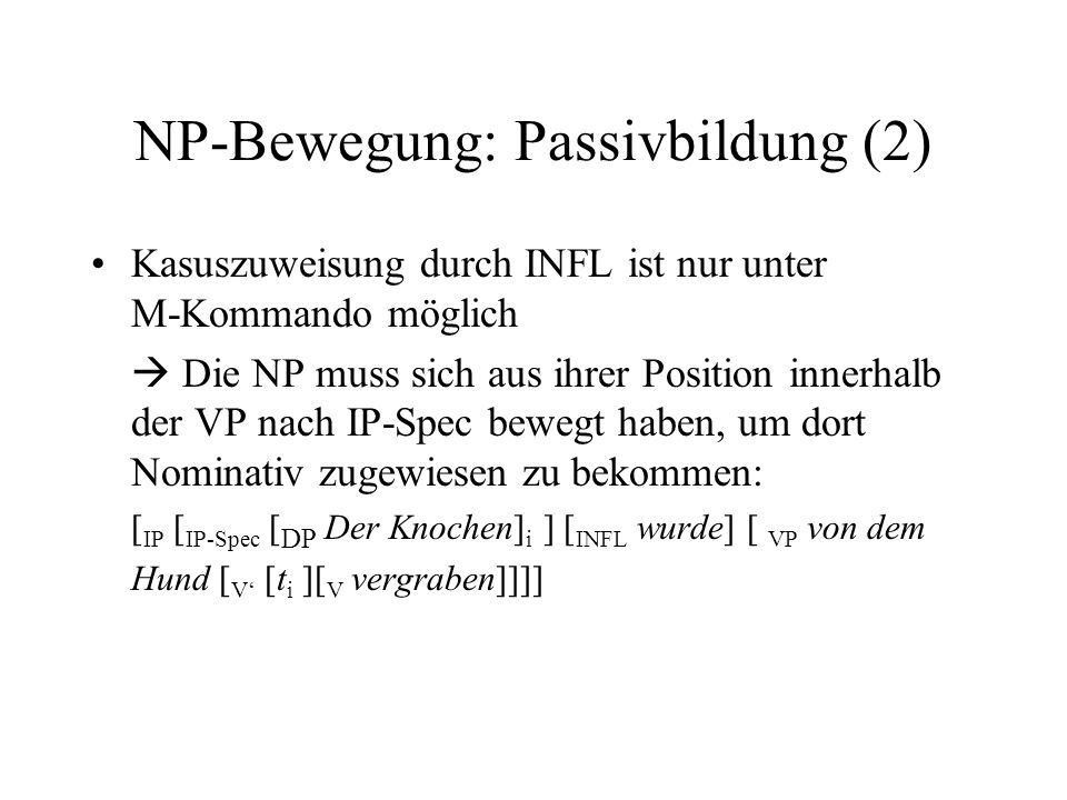 NP-Bewegung: Passivbildung (2)