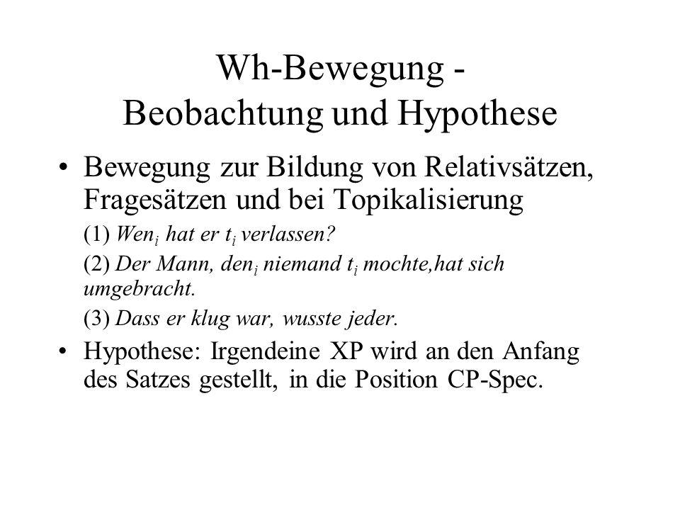 Wh-Bewegung - Beobachtung und Hypothese