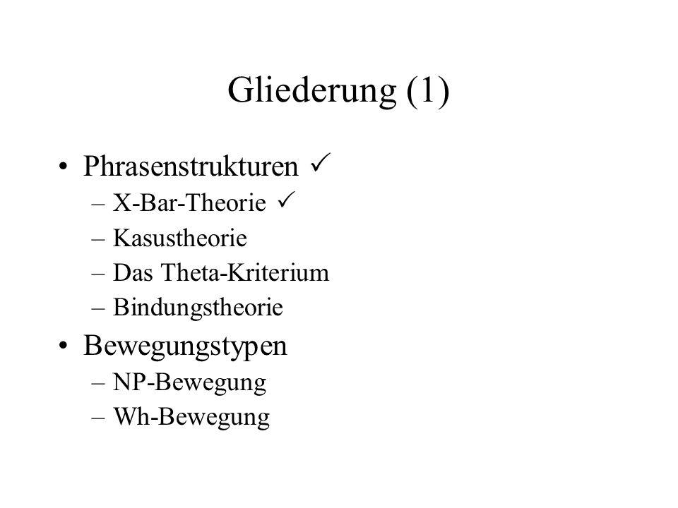 Gliederung (1) Phrasenstrukturen  Bewegungstypen X-Bar-Theorie 