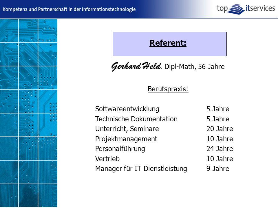 Gerhard Held, Dipl-Math, 56 Jahre