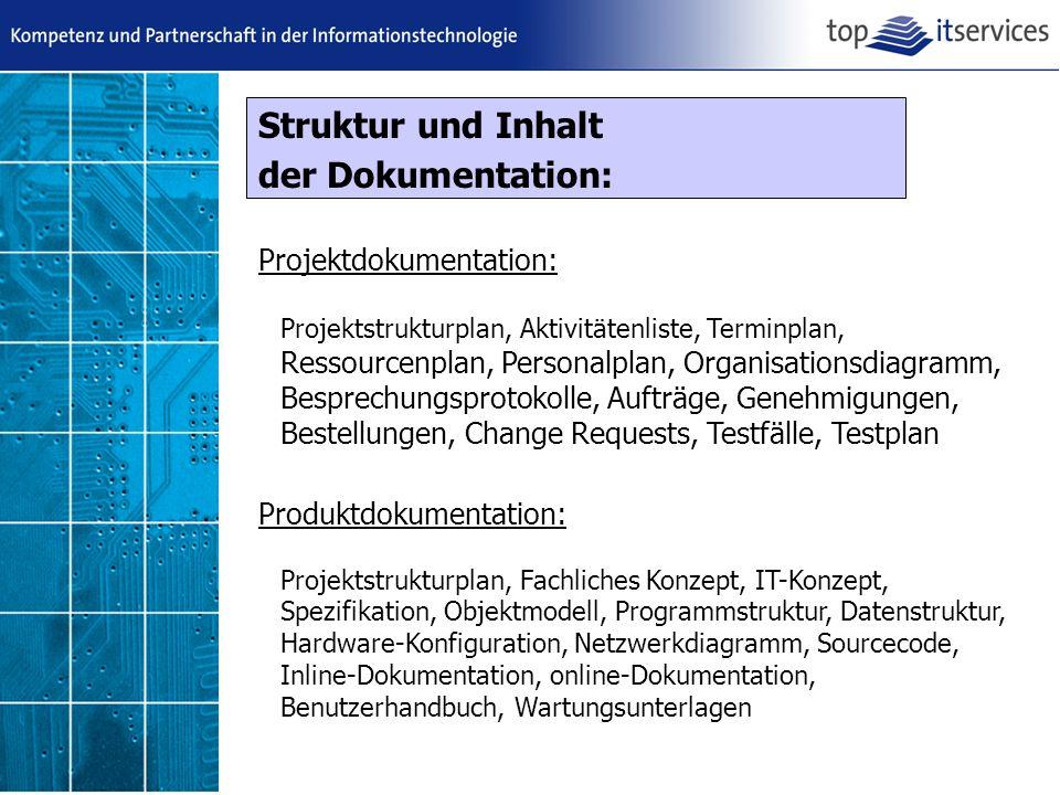 Struktur und Inhalt der Dokumentation: Projektdokumentation:
