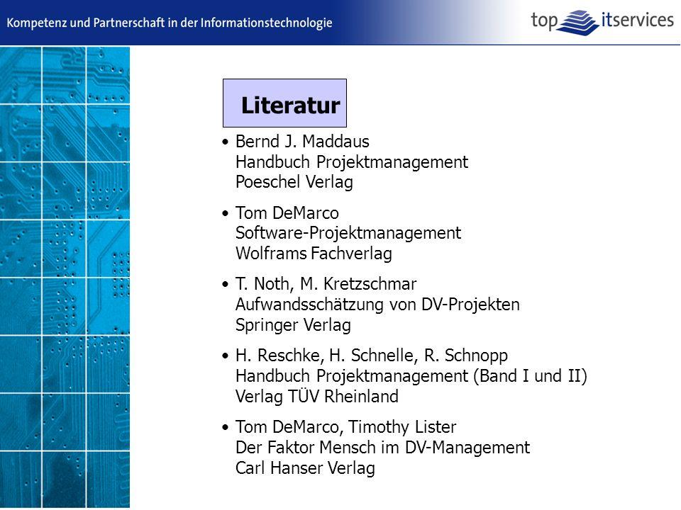 Literatur Bernd J. Maddaus Handbuch Projektmanagement Poeschel Verlag