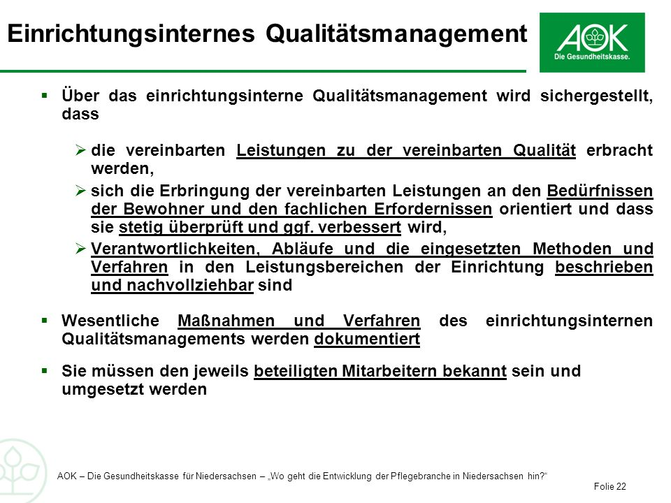 Einrichtungsinternes Qualitätsmanagement