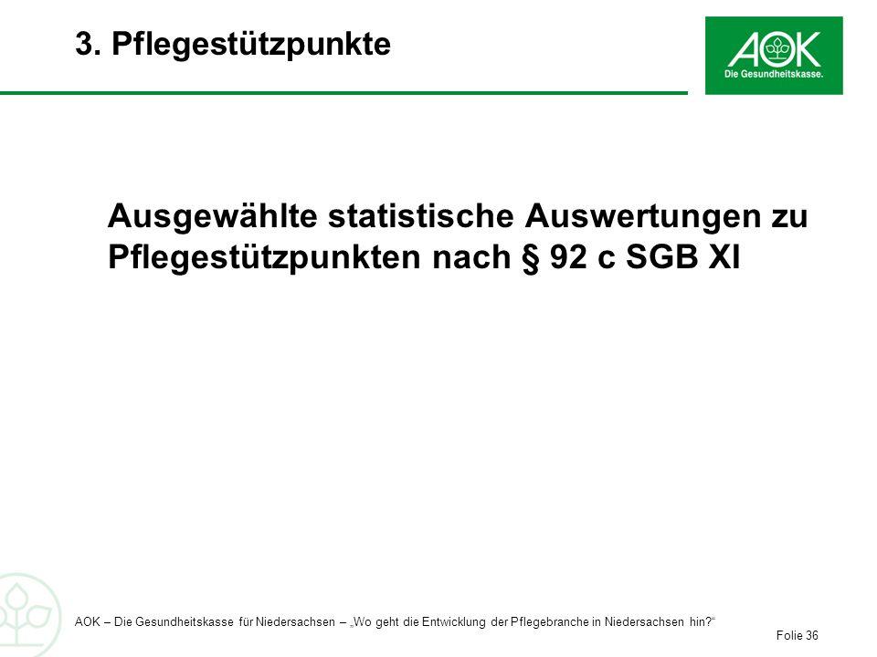 3. Pflegestützpunkte Ausgewählte statistische Auswertungen zu Pflegestützpunkten nach § 92 c SGB XI.