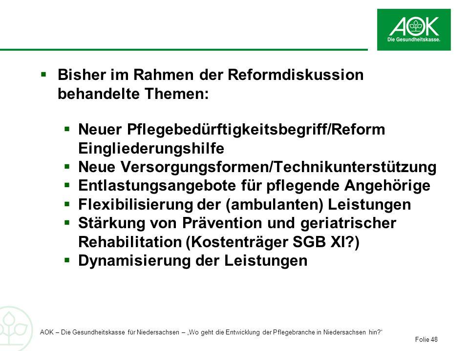Bisher im Rahmen der Reformdiskussion behandelte Themen: