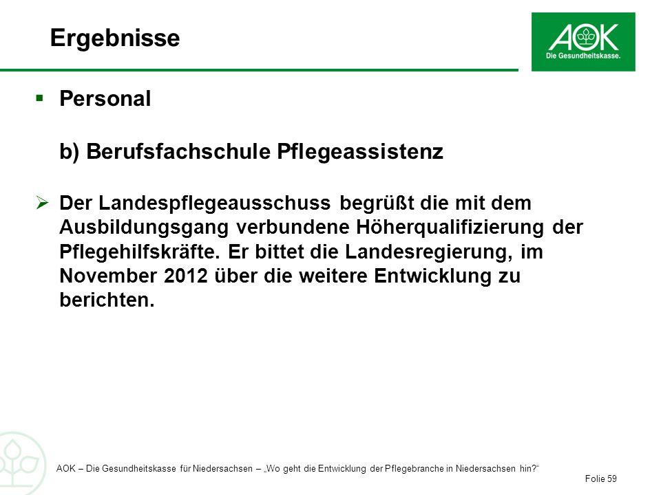 Ergebnisse Personal b) Berufsfachschule Pflegeassistenz