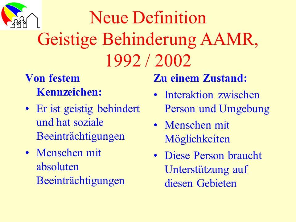 Neue Definition Geistige Behinderung AAMR, 1992 / 2002