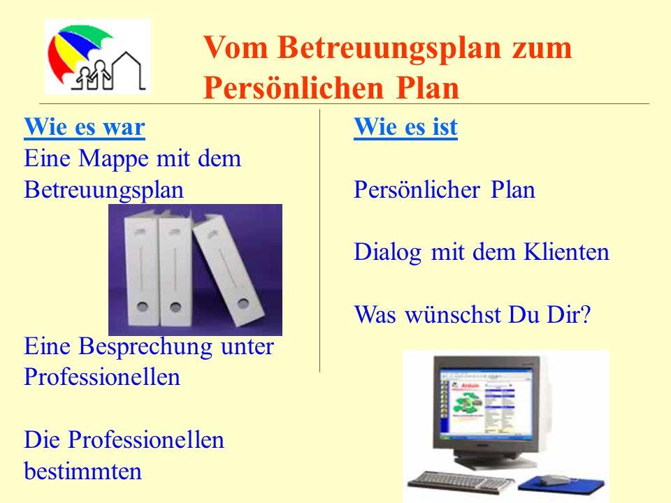 Vom Betreuungsplan zum Persönlichen Plan