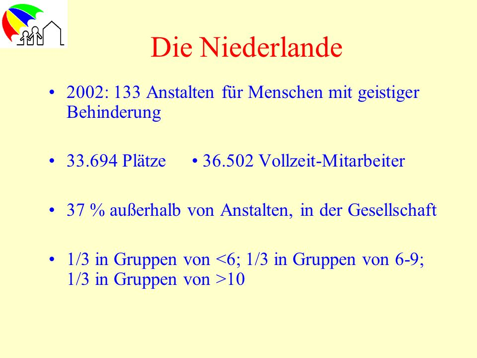 Die Niederlande2002: 133 Anstalten für Menschen mit geistiger Behinderung. 33.694 Plätze • 36.502 Vollzeit-Mitarbeiter.