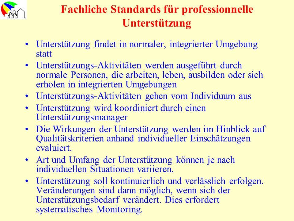 Fachliche Standards für professionnelle Unterstützung