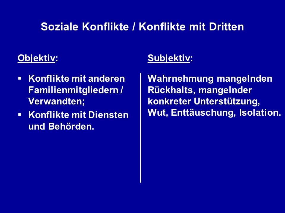 Soziale Konflikte / Konflikte mit Dritten