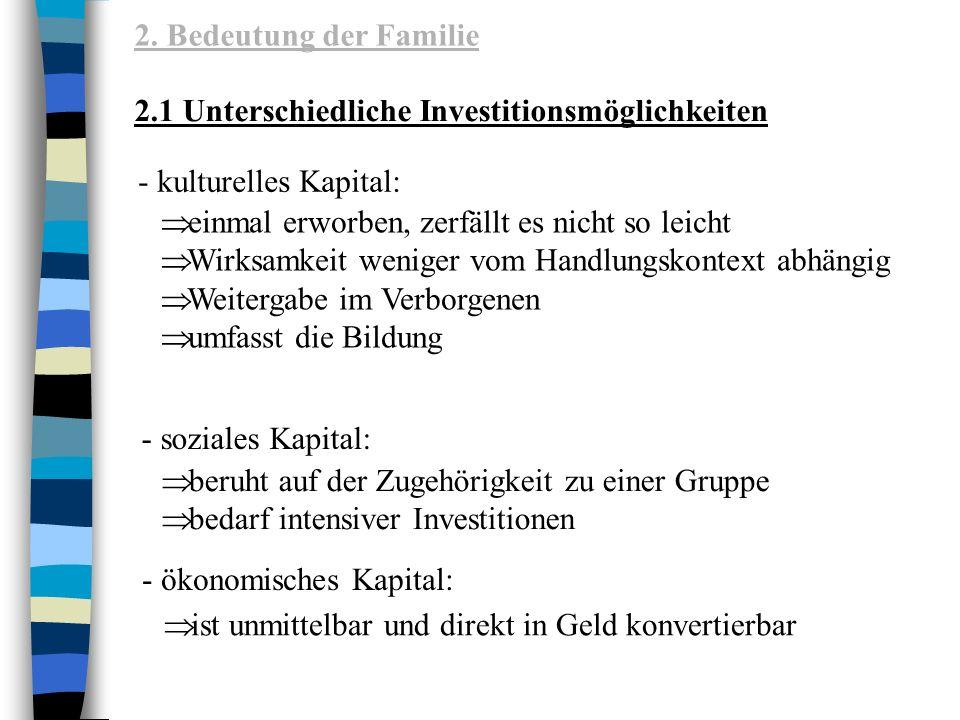 2. Bedeutung der Familie 2.1 Unterschiedliche Investitionsmöglichkeiten. - kulturelles Kapital: einmal erworben, zerfällt es nicht so leicht.