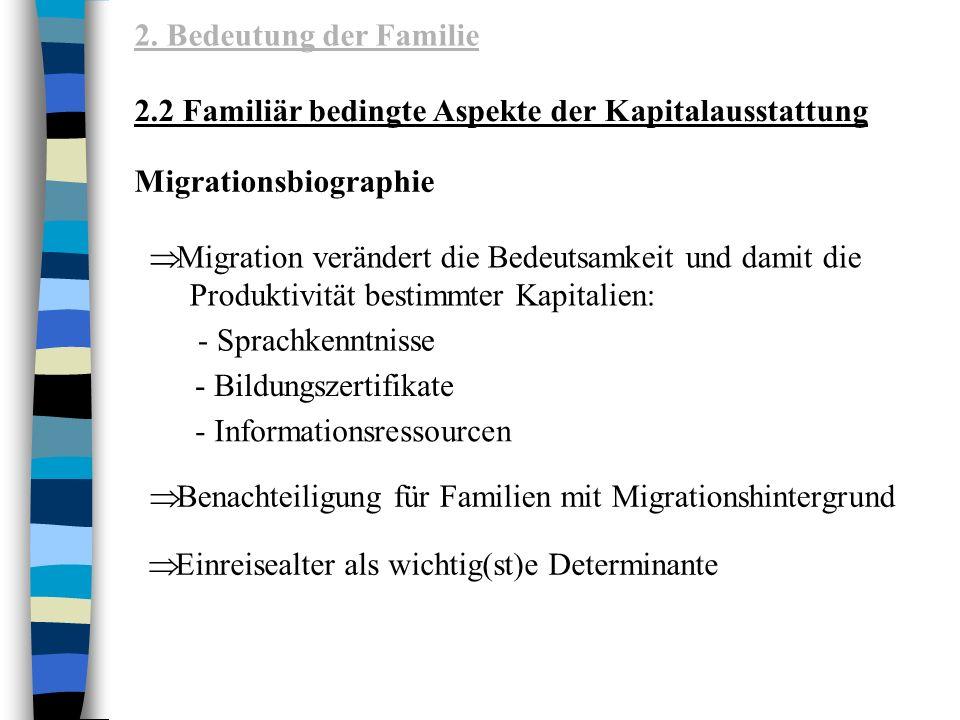 2. Bedeutung der Familie 2.2 Familiär bedingte Aspekte der Kapitalausstattung. Migrationsbiographie.