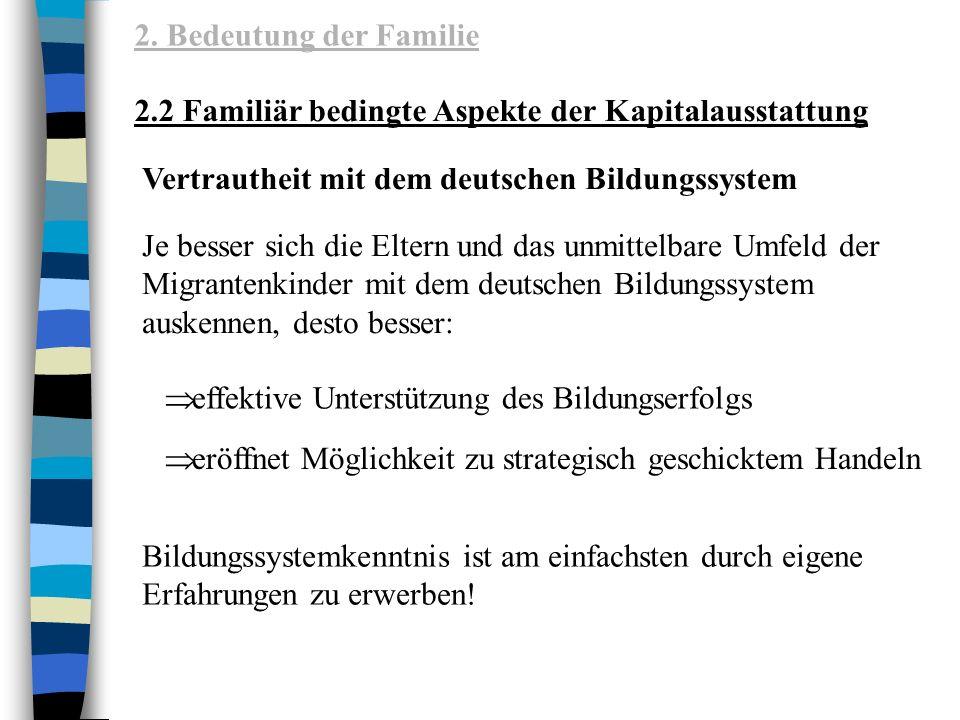 2. Bedeutung der Familie 2.2 Familiär bedingte Aspekte der Kapitalausstattung. Vertrautheit mit dem deutschen Bildungssystem.