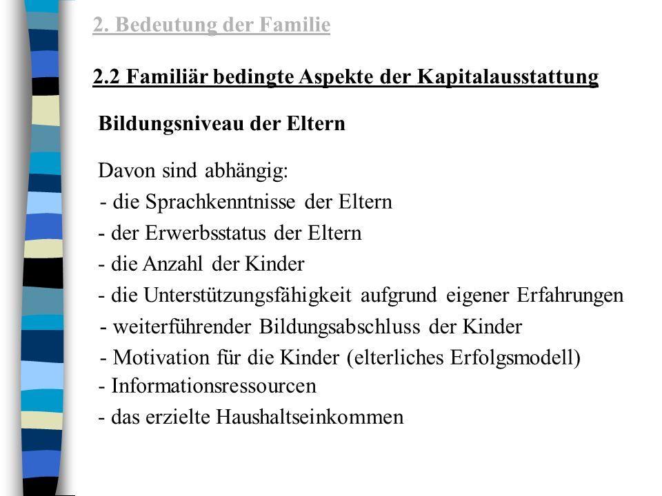 2. Bedeutung der Familie 2.2 Familiär bedingte Aspekte der Kapitalausstattung. Bildungsniveau der Eltern.