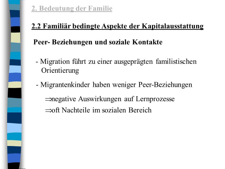 2. Bedeutung der Familie 2.2 Familiär bedingte Aspekte der Kapitalausstattung. Peer- Beziehungen und soziale Kontakte.