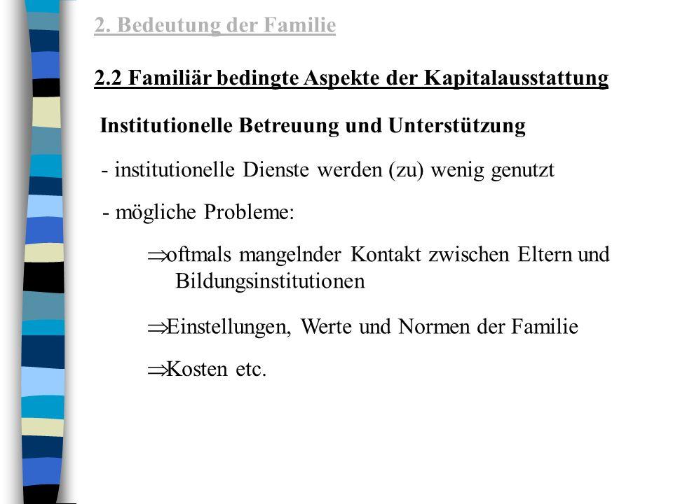 2. Bedeutung der Familie 2.2 Familiär bedingte Aspekte der Kapitalausstattung. Institutionelle Betreuung und Unterstützung.