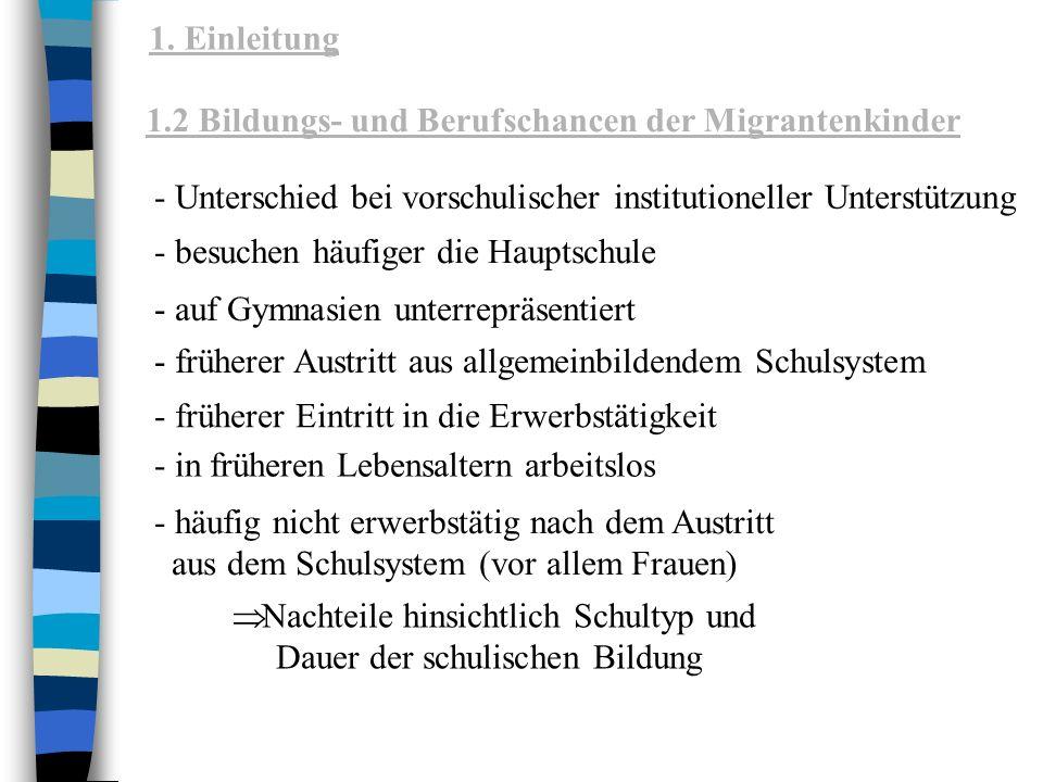 1. Einleitung 1.2 Bildungs- und Berufschancen der Migrantenkinder. - Unterschied bei vorschulischer institutioneller Unterstützung.