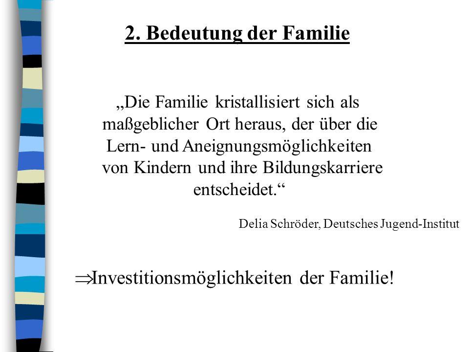 2. Bedeutung der Familie Investitionsmöglichkeiten der Familie!