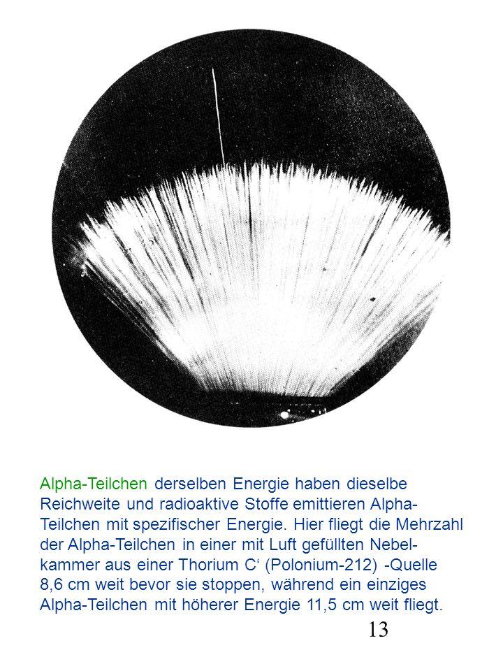 Alpha-Teilchen derselben Energie haben dieselbe Reichweite und radioaktive Stoffe emittieren Alpha- Teilchen mit spezifischer Energie. Hier fliegt die Mehrzahl der Alpha-Teilchen in einer mit Luft gefüllten Nebel- kammer aus einer Thorium C' (Polonium-212) -Quelle