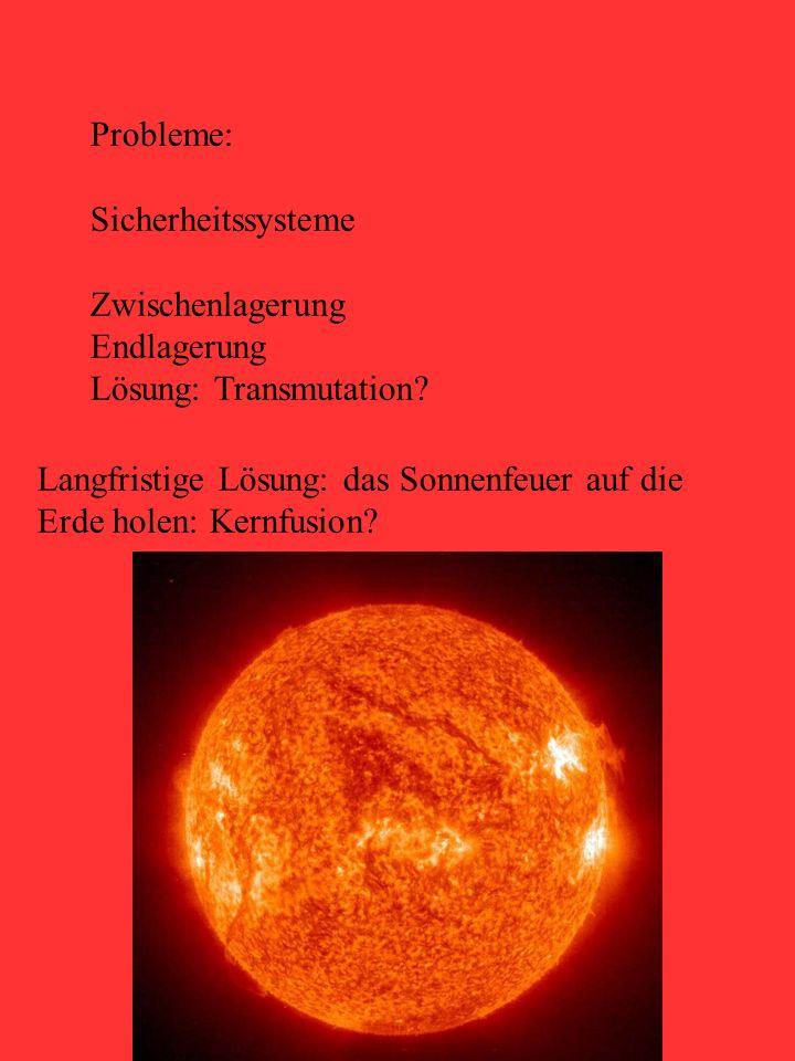 Probleme: Sicherheitssysteme. Zwischenlagerung. Endlagerung. Lösung: Transmutation