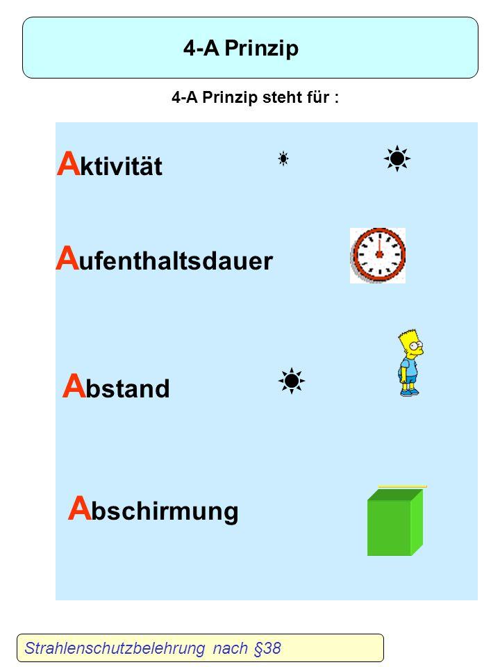 Aktivität Aufenthaltsdauer Abstand Abschirmung 4-A Prinzip
