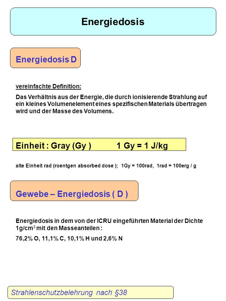 Energiedosis Energiedosis D Einheit : Gray (Gy ) 1 Gy = 1 J/kg